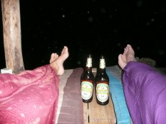 Enjoying Beerlao in our comfy pants from Thailand. Perfect way to say goodbye to 2012!