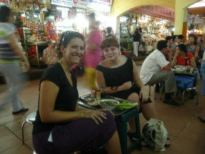 Dominika and I at the market on mini stools