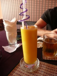 Delicious mango smoothie after a heavy day