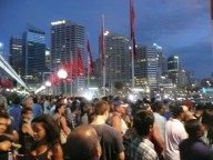 Crowd waiting for Australia Day fireworks