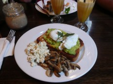 Avo + egg on toast with 'shrooms and feta, am I in heaven?