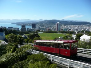 Cable car with view of the city