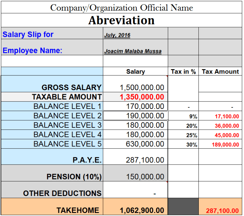 Tanzania T R A P A Y E  and Pension Salary Excel Calculator