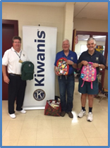 Kiwanis donates backpacks.