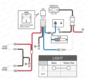 light NS15 fog  wiring kit  black switch motorcycle