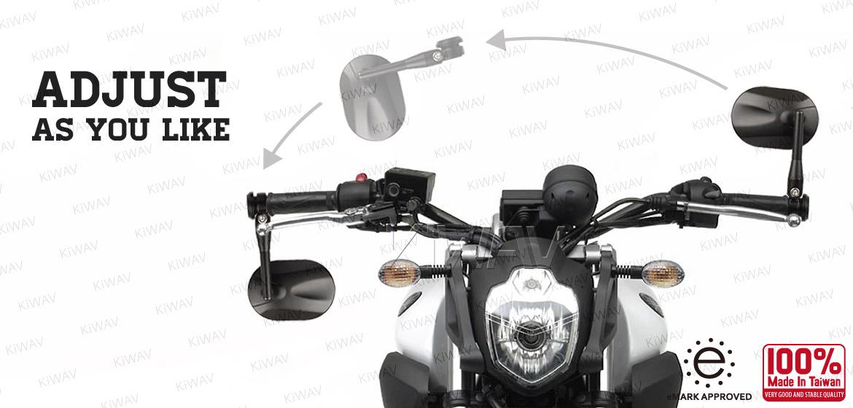 Bar end mirror black highly adjustable STARK aluminum for