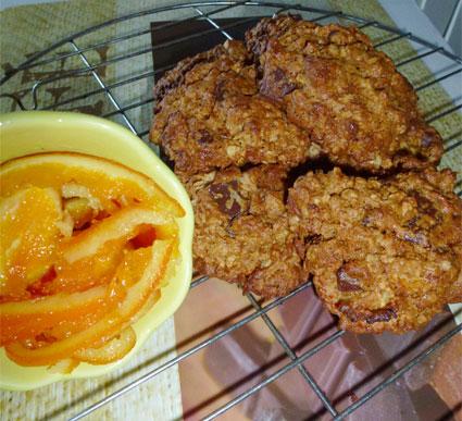Cookies orange & chocolat aux flocons d'avoine et farine de riz