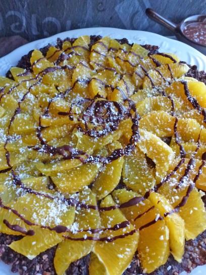 Tarte aux noix oranges et chocolat sans cuisson