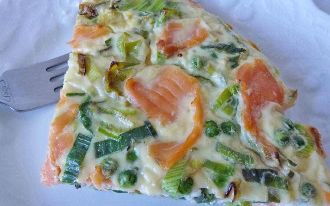 Comment préparer une «fausse quiche» allégée…un exemple avec saumon, poireaux, petits pois et chèvre frais