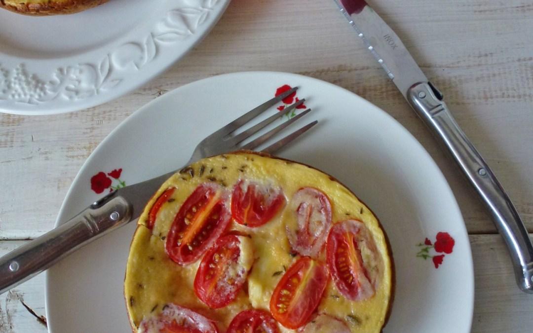 Minis clafoutis aux tomates cerises et fromage de brebis  ( sans gluten )