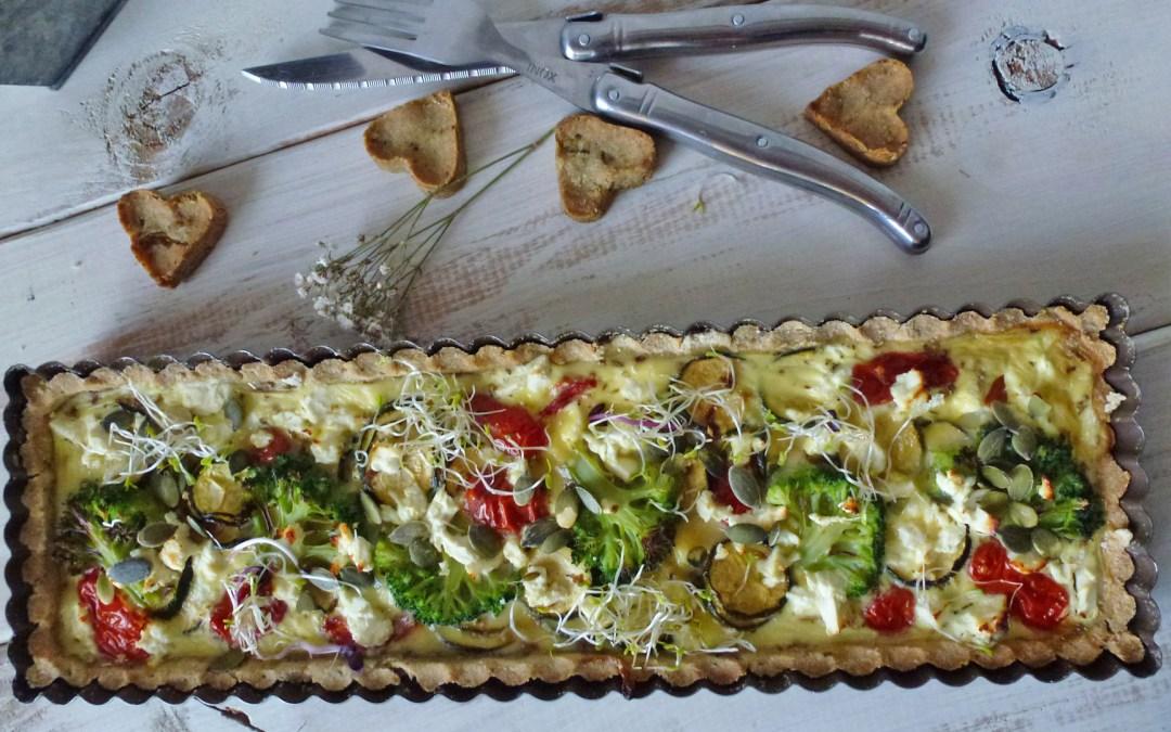 Tarte aux légumes  rôtis et fromage de brebis ( sans gluten )