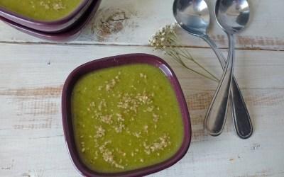 Soupe de légumes verts, cumin et gomasio …