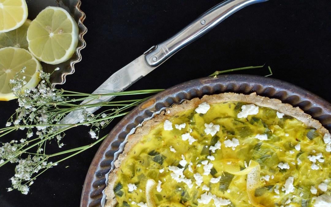 Tarte aux poireaux, fromage  de chèvre et zestes de citron ( sans gluten, allégée )