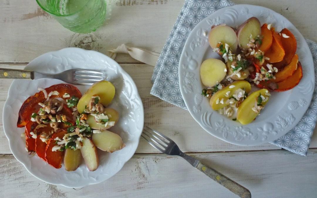 Potimarron et pommes de terre, aux amandes, échalotes, et olives vertes