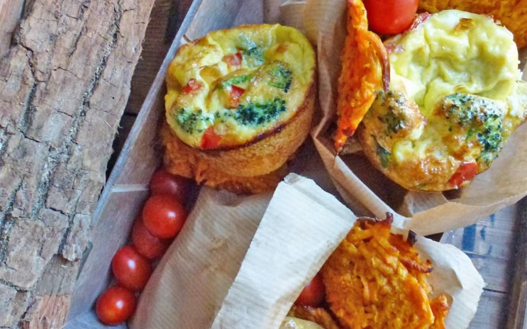 Minis frittatas et rostis de patates douces au four  (  Sans gluten )