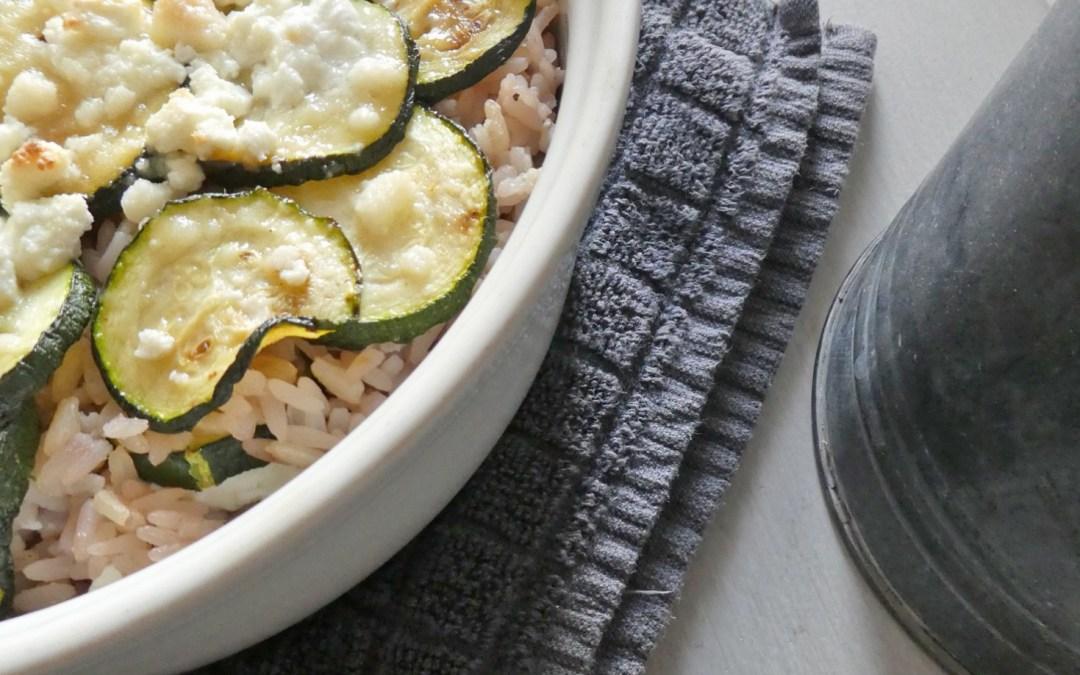 Gratin de courgettes au riz et fromage de brebis  ( Sans gluten, sans oeufs )