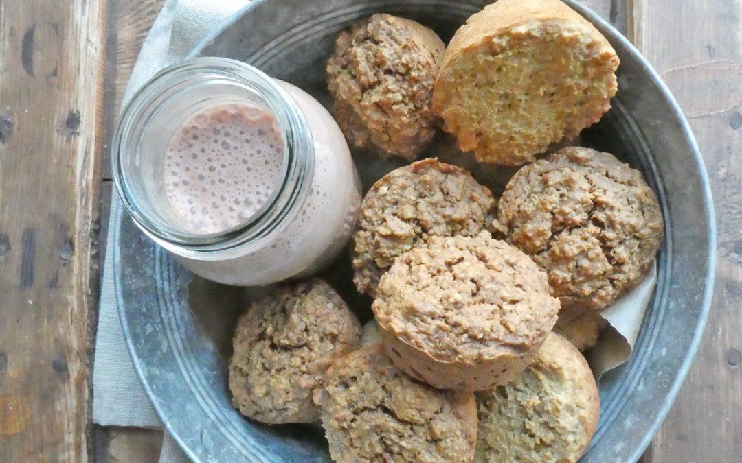 Muffins façon porridge, 2 versions ; Avoine ou quinoa/riz  ( Sans gluten, Vegan, allégés )