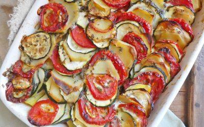 Gratin d'été aux pommes de terre, tomates et courgettes  ( Sans lactose )