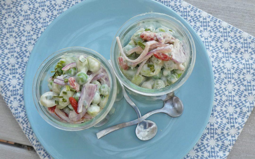 Salade de fèves et petits pois, sauce toute légère au fromage blanc de chèvre ( Sans céréales, sans gluten, léger )