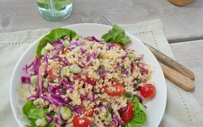 Salade de millet au chou rouge, fèves et tomates cerises.