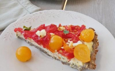 Tarte aux tomates et brousse de brebis ( Index glycémique bas, sans céréales, sans gluten )