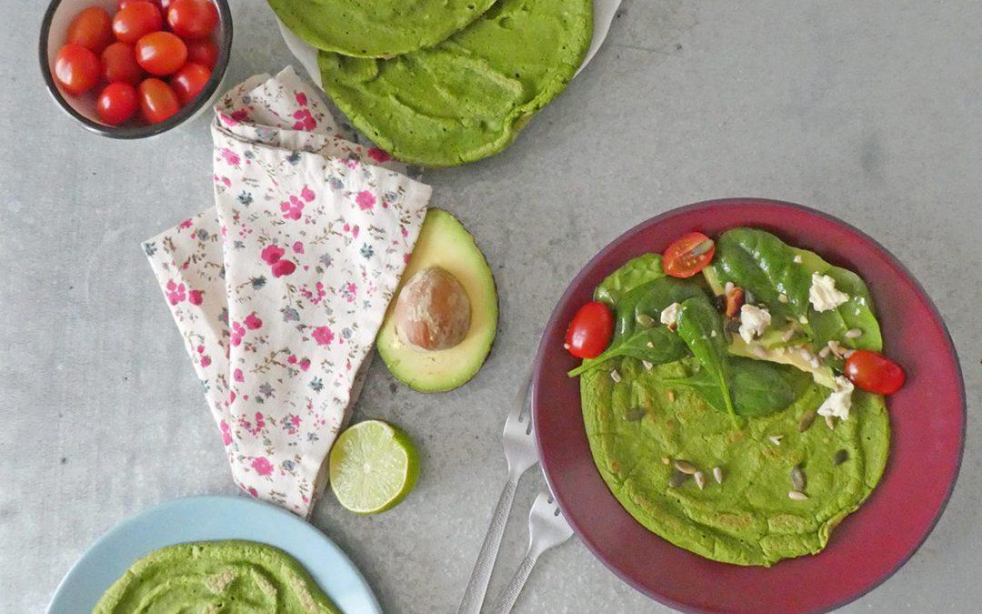 Crêpe ou flatbread aux lentilles et pousses d'épinards ( Sans gluten, index glycémique bas, vegan)