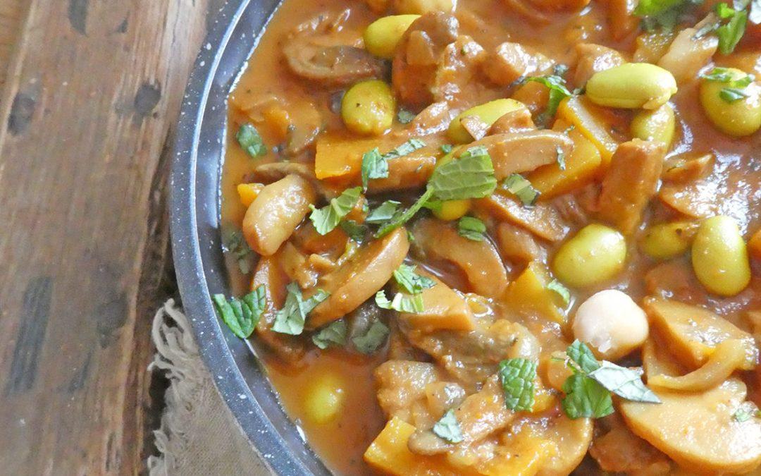 Curry de champignons, edamame/pois chiche et butternut ( Léger, Vegan, sans céréales )
