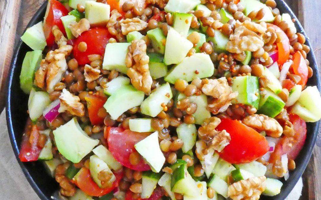 Salade de lentilles à l'huile de noix  ( Sans céréales, vegan )