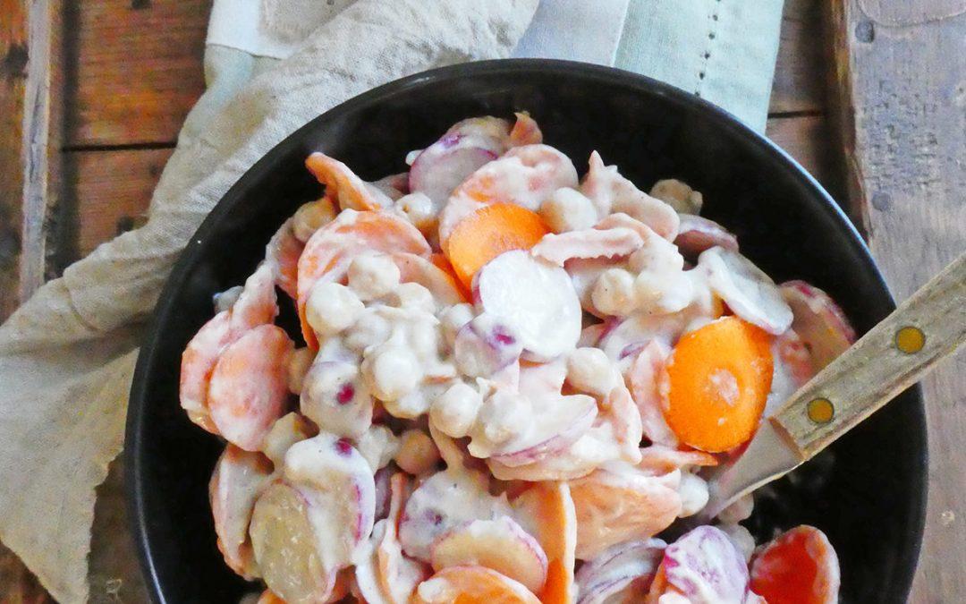 Salade de carottes rondelles, sauce légère au sésame  (Léger, vegan, sans céréale )