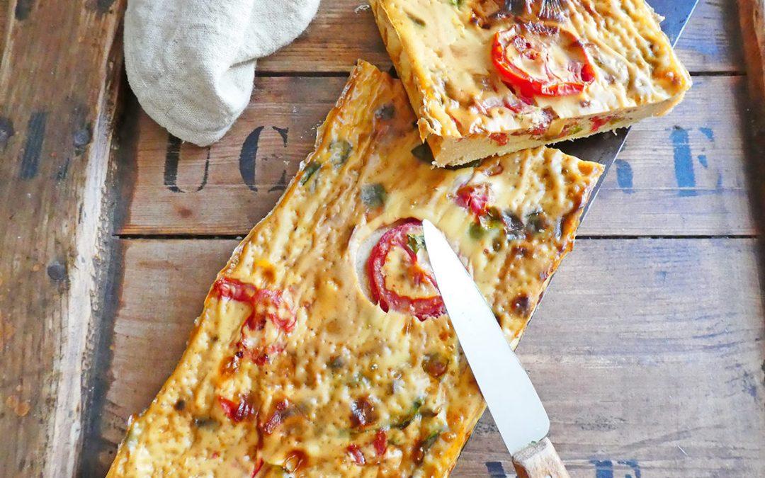 Tarte aux tomates façon quiche, à la farine de pois chiche ( Sans gluten, index glycémique bas, allégée en matières grasses )