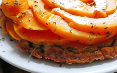 Tarte renversée de butternut au miel, thym et fromage de chèvre bûche ( Sans céréales, allégée )