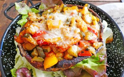 Gros champignons portobellos farcis aux légumes ( Sans céréales, sans gluten, léger, option vegan  )