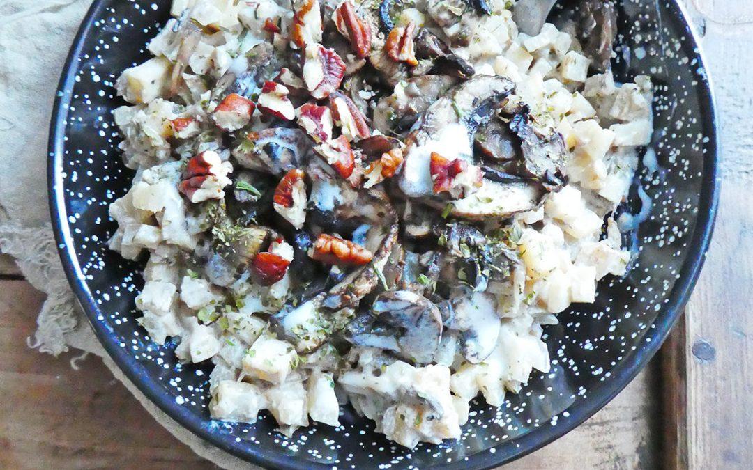Risotto sans riz, au céleri rave et champignons ( Vegan, sans céréales, sans gluten, léger )