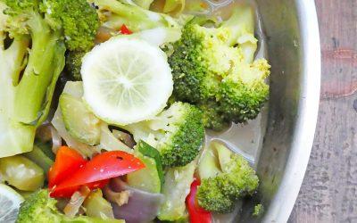Poêlée légère de légumes parfumés coco/curry
