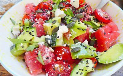 Salade d'été à la pastèque et aux tomates cerise ( Option vegan, léger, sans céréale, sans gluten )