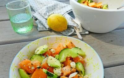 Salade de melon, concombre, avocat, Féta