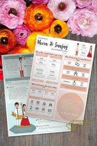 Indian Wedding Program - Boho Indian with Infographic - Editable DIY