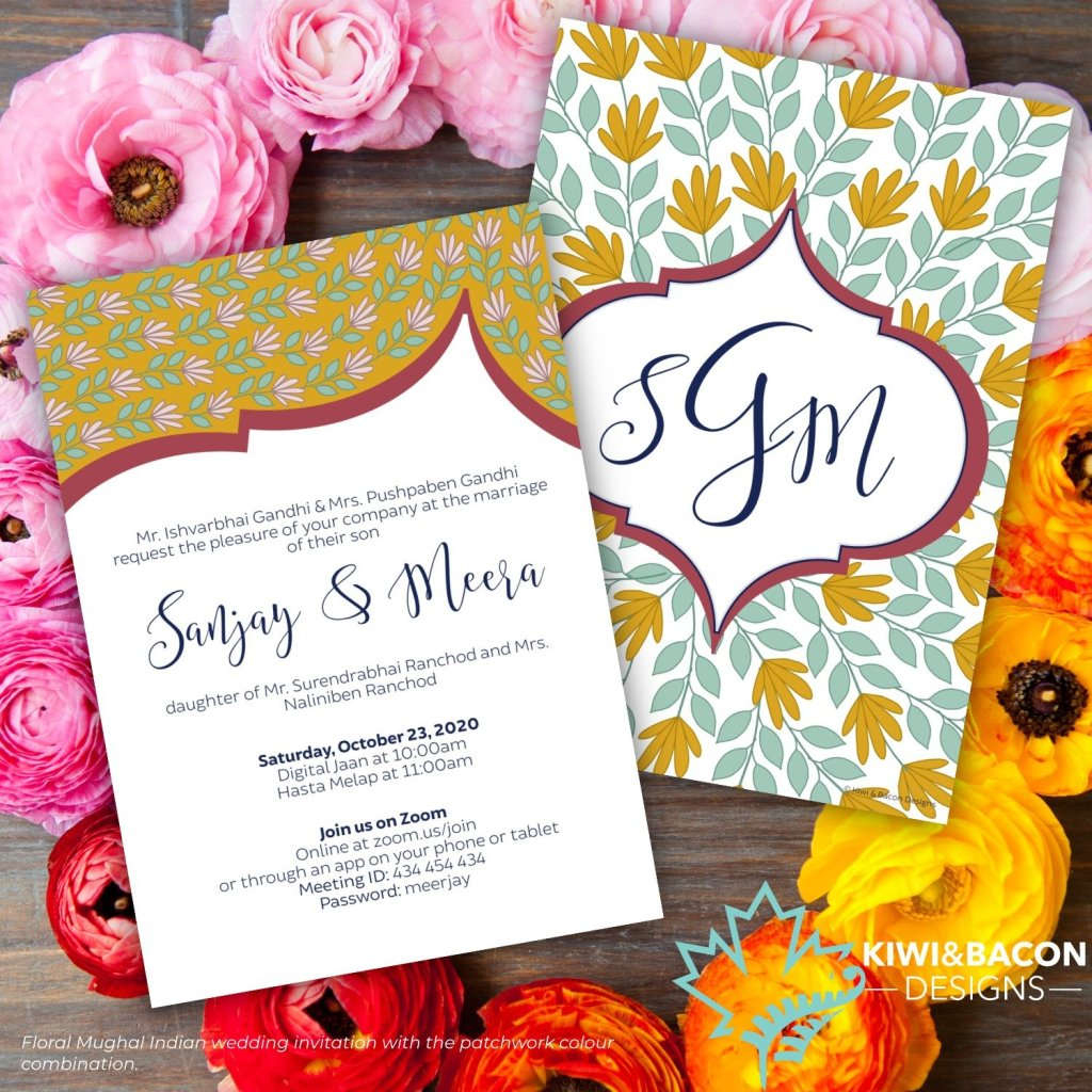 Floral Mughal Indian Wedding Invitation Patchwork
