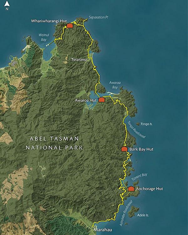 abel tasman mapa