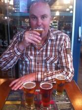 Tasting some beer on Granville Island