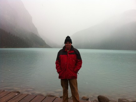 Lake Louise in fog
