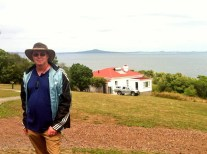 Bunk house in background and view of Rangitoto Island