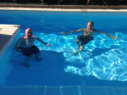 Enjoying a swim at Al and Julia's pool
