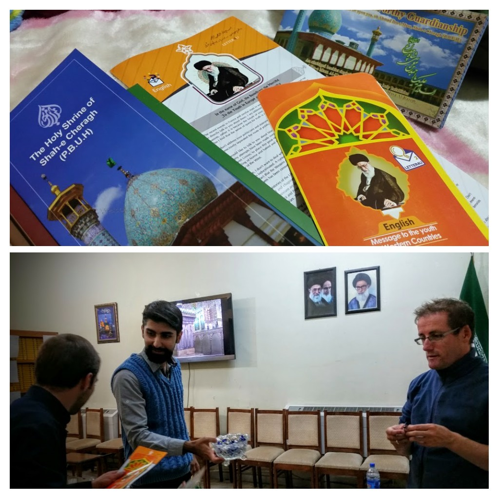 English speaking Muslims sharing their faith, tea, sweets and pamphlets with us.