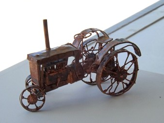 Copper tractor model by Malcolm Ford
