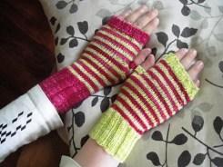 Stripy mittens