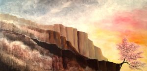 KJsArtStudio.com | Cherry Blossoms on Cliff ~ Original Painting by Fine Artist, KJ Burk
