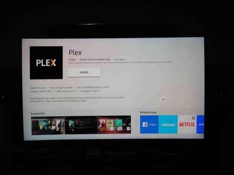 Tizen - ekran instalacji Plex