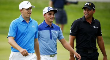 Jordan Spieth (left), Rickie Fowler (middle), and Jason Day (right) walk down the fairway at the BMW Championship.