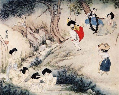 恵園(申潤福:シンユンボク:신윤복)『端午風情(タノプンジョン:단오풍정)』